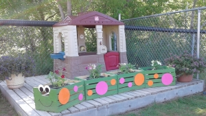 Outdoor play centre with flowers